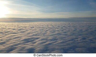 été, nuages, fenêtre, avion, coucher soleil, cottony, magie, prise vue aérienne