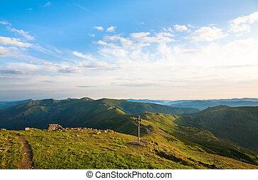 été, nuageux, paysage, montagne