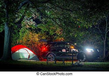 été, nuit, camping