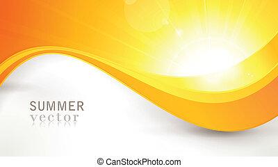 été, ondulé, flamme, lentille, vecteur, modèle, soleil