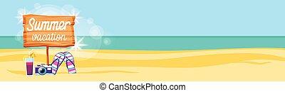 été, opérations virgule flottante, cocktail, coloré, espace, affiche, chiquenaude, vacances, exotique, sable, appareil photo, plage, copie, bannière