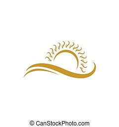 été, or, couleur, swoosh, plage, icône