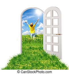 été, ouverture porte, mener