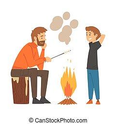 été, père, camping, randonnée, aventures, fils, guimauves, famille, actif, feu, illustration, friture, vecteur, récréation