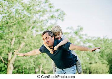 été, père, parc, fils, day., jouer