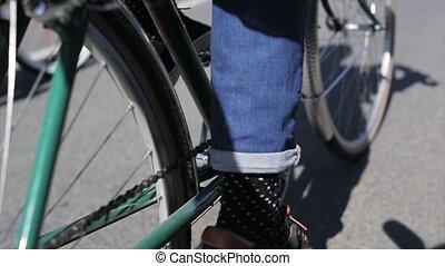 été, pédales, lent, cyclisme, garçon, motion., dos, foyer, ...