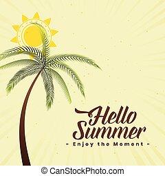 été, palmier, fond, soleil