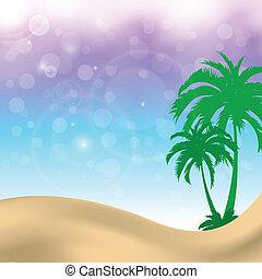 été, palmiers, fond