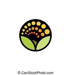 été, panorama., pré, logotype., clair, paysage, fleur, isolé, couleur environnement, logo., nature, campagne, pétales, dessin animé, naturel, feuilles, forme, vert, coucher soleil, icon., rond