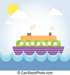 été, paquebot, vacances, bateau croisière, océan