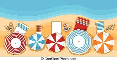 été, parapluie, bannière, sommet, vacances, exotique, sunbed, sable, angle, plage, vue