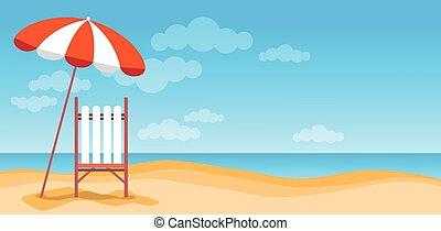 été, parapluie, espace, bannière, vacances, exotique, sunbed, sable, copie, plage