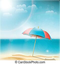 été, parapluie plage, jour, océan