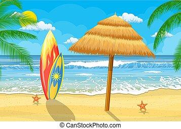 été, parapluie plage, temps
