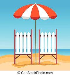 été, parapluie, vacances, sunbed, plage sable
