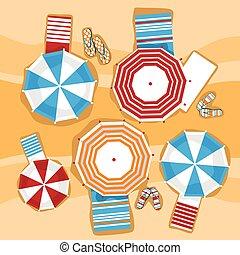 été, parapluie, voyage, vacances, exotique, sunbed, sable, angle, plage, vue dessus
