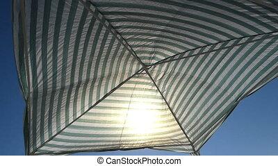 été, parasol, côte, mer noire, rayé