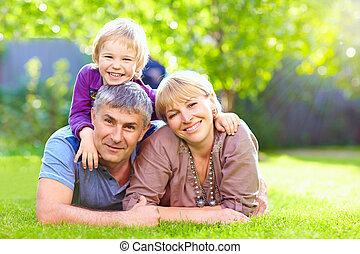 été, parc, ensemble, famille, heureux
