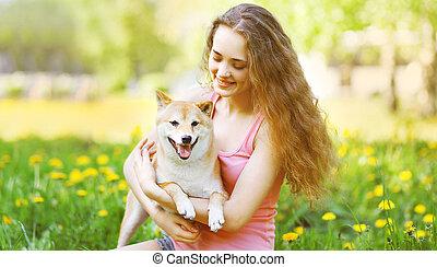 été, parc, ensoleillé, chien, girl, heureux