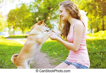 été, parc, ensoleillé, chien, girl, jouer, heureux