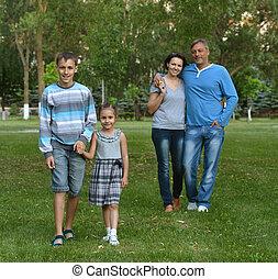 été, parc, famille, heureux