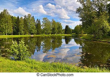 été, parc, lac, paysage