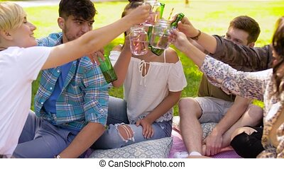 été, parc, tintement, heureux, amis, boissons
