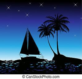 été, paume, yacht, fond, arbres