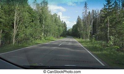 été, pays, poche, day., appareil photo, voiture, routes,...