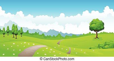 été, paysage, à, pré, fleurs, et, montagnes