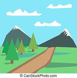 été, paysage, à, pré vert, et, montagnes grises