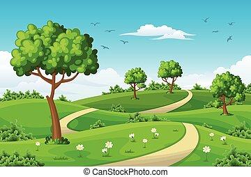été, paysage, arbres, illustration