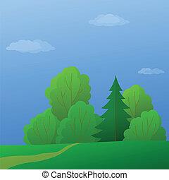 été, paysage, bord, forêt, jour