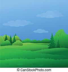 été, paysage, forêt