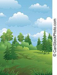 été, paysage, forêt verte
