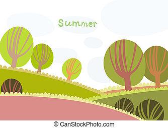 été, paysage, nuages, arbres, coloré