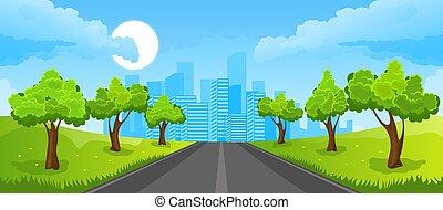 été, paysage, ville