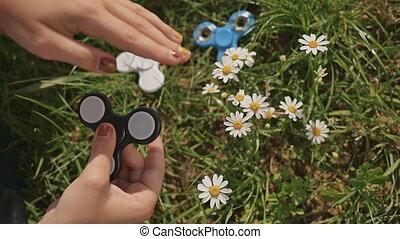 été, pelouse, ensoleillé, jeune, fileur, fille noire, day., jouer