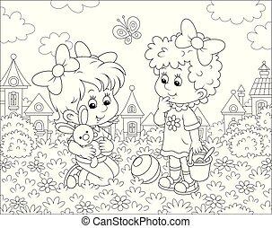 été, pelouse, filles, jour, jouer