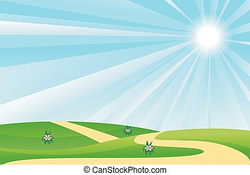 été, pelouse, paysage vert