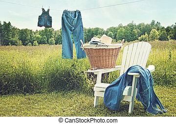 été, pendre, jean, clothesline, après-midi
