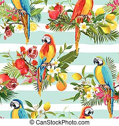 été, perroquet, modèle, seamless, exotique, arrière-plan., vecteur, retro, fruits, fleurs, oiseaux