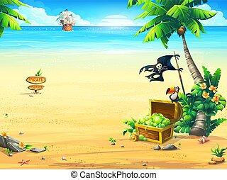 été, perroquet, poitrine, arbre, paume, bateau, côte, pirate