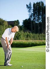 été, personne agee, joueur golf