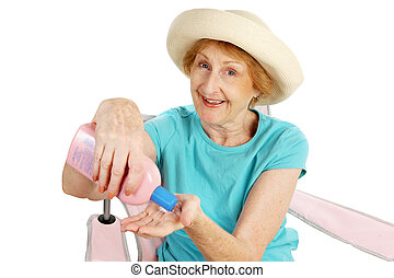 été, personne agee, -, sunscreen