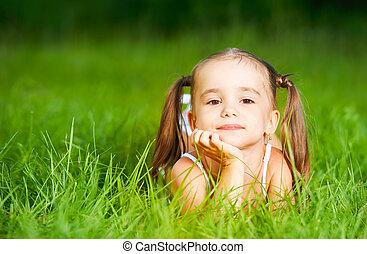 été, petit enfant, girl, herbe, robe, blanc, mensonge, heureux