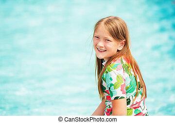 été, peu, amusant, girl, jour, piscine, gentil