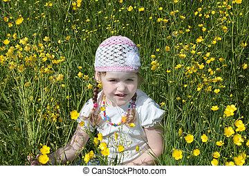 été, peu, assied, pré, jaune, jolie fille, fleurs, jour, heureux