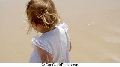 été, peu, blonds, girl, apprécier, plage