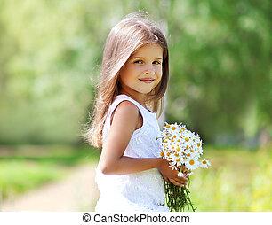été, peu, ensoleillé, portrait, girl, fleurs, jour
